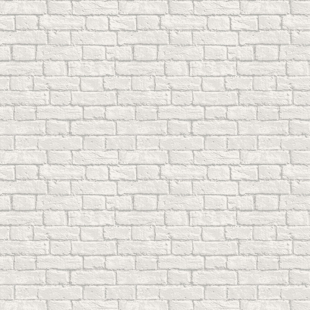Glitter Brick Wallpaper - White - by Albany
