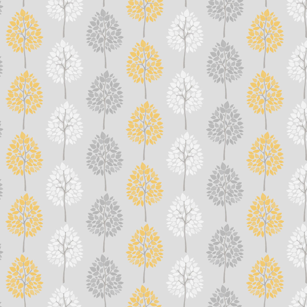 Bold Leaves Wallpaper - Grey / Yellow - by Albany