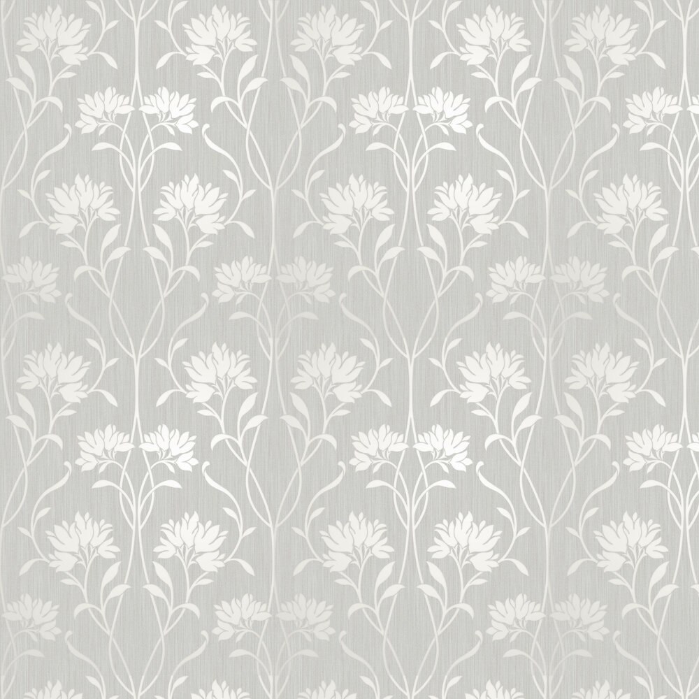 Florence Floral Wallpaper - Silver - by Albany