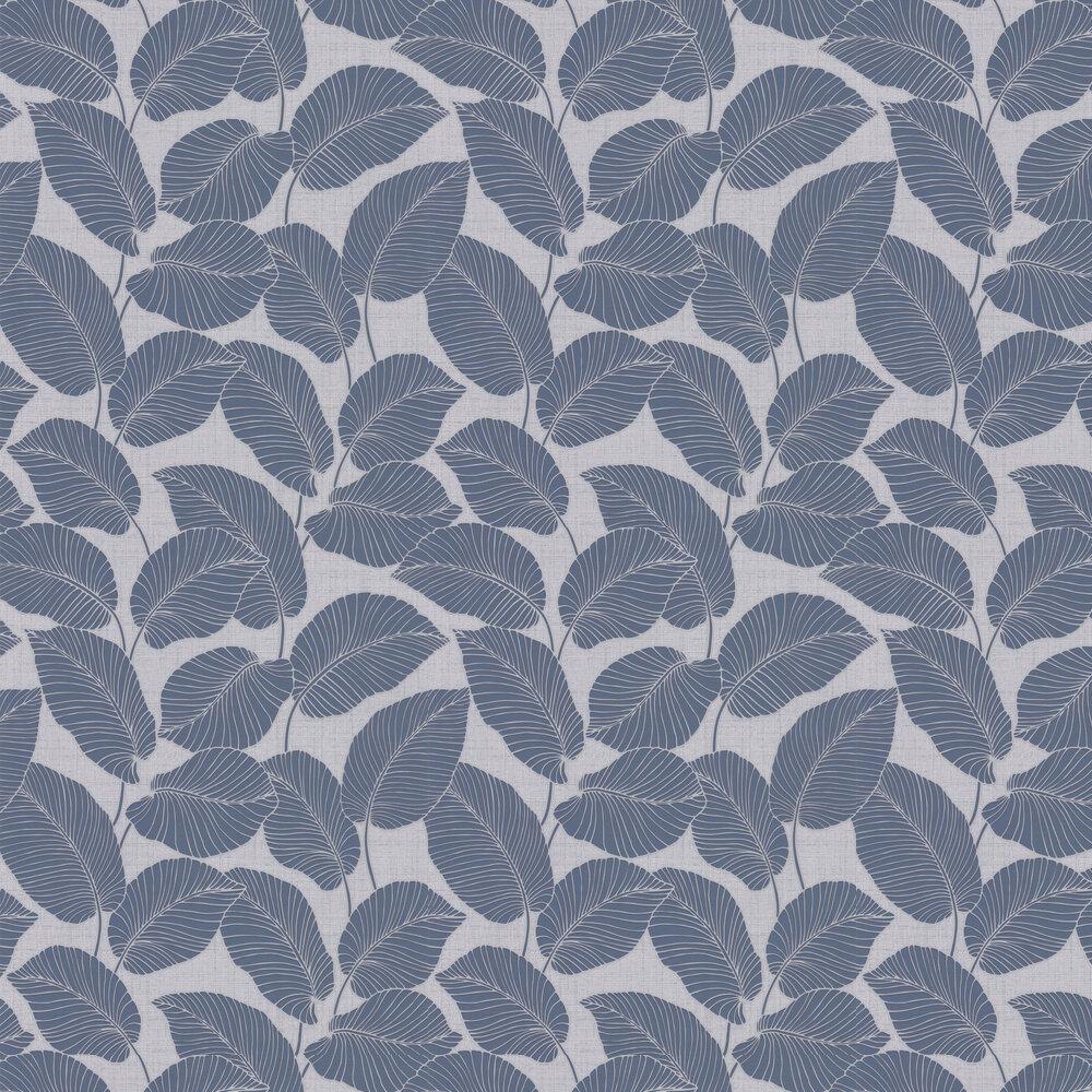 Larson Leaf Wallpaper - Navy - by Albany