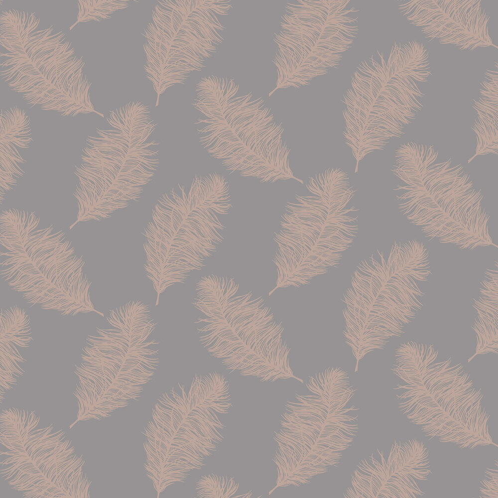Fawning Feather Wallpaper - Grey / Rose Gold - by Albany