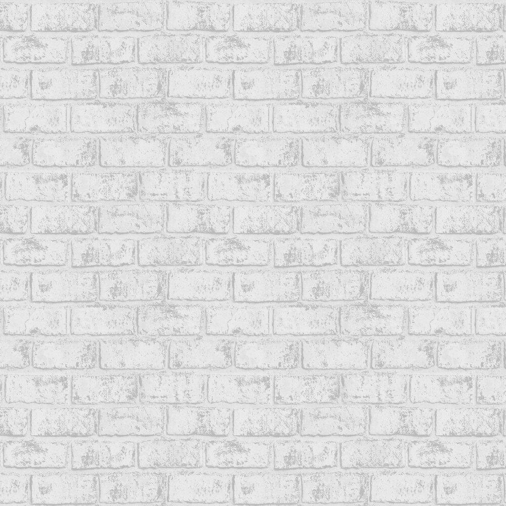 Glistening Brick Wallpaper - White - by Albany