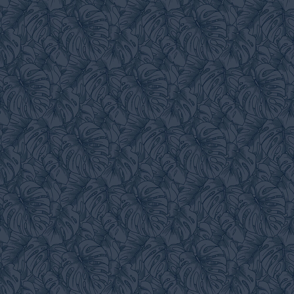 Balboa Wallpaper - Navy Flock - by A Street Prints