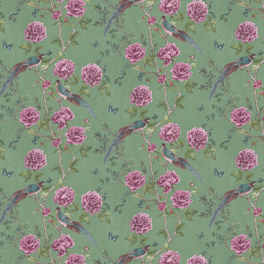 Vintage Chinoiserie Wallpaper - Jade - by Paloma Home