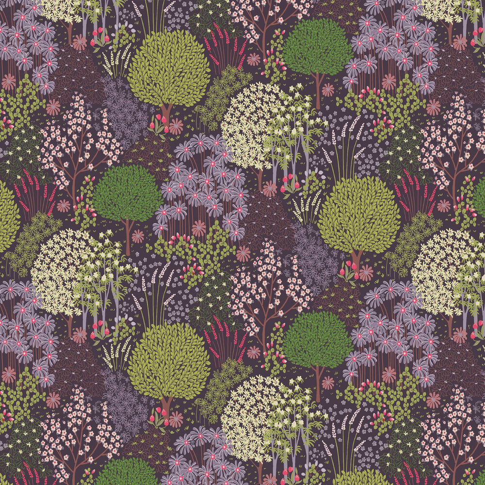 Fable Wallpaper - Plum - by Graham & Brown