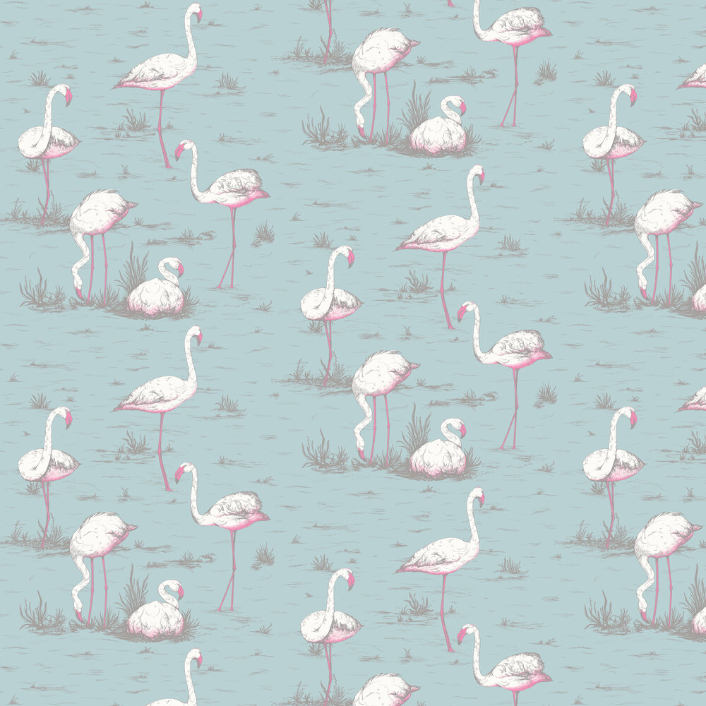 Flamingos Wallpaper - Duck Egg - by Cole & Son