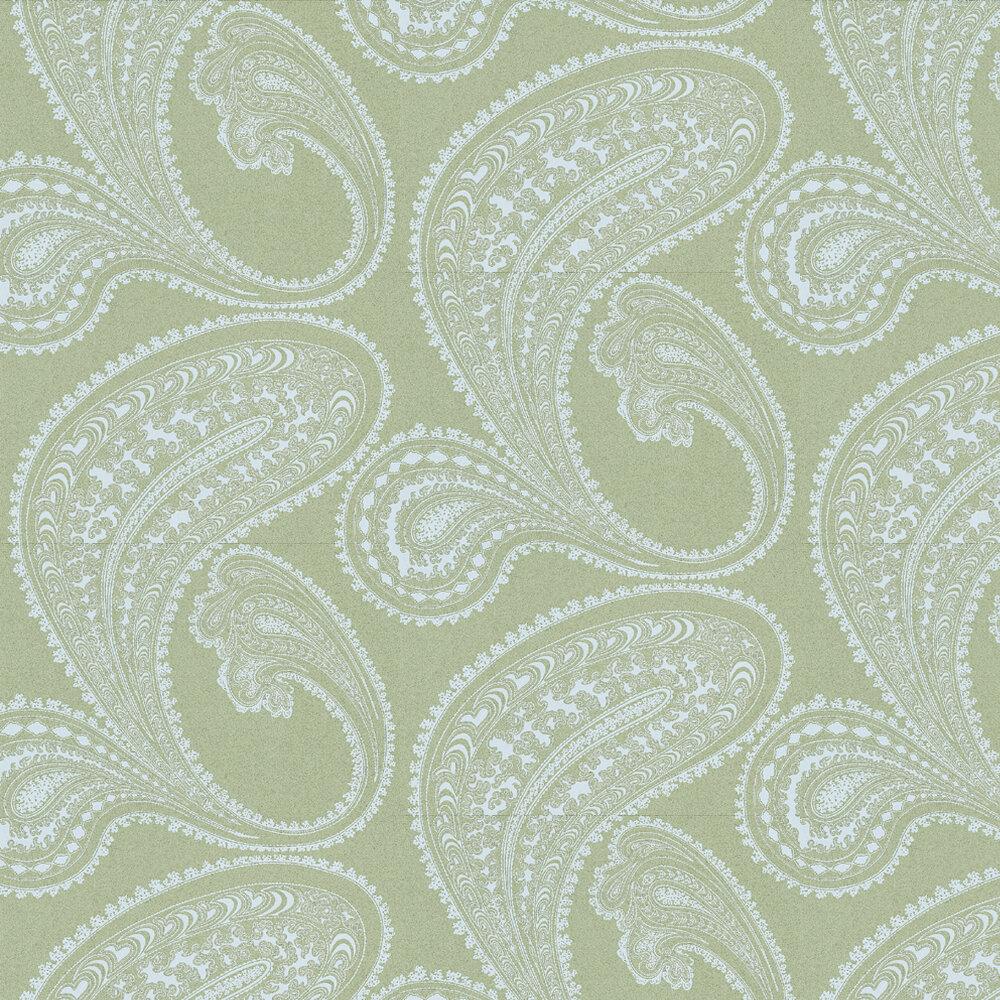 Rajapur Wallpaper - White / Khaki Green - by Cole & Son