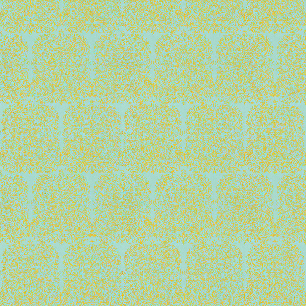 Alpana Wallpaper - Yellow / Turquoise - by Cole & Son