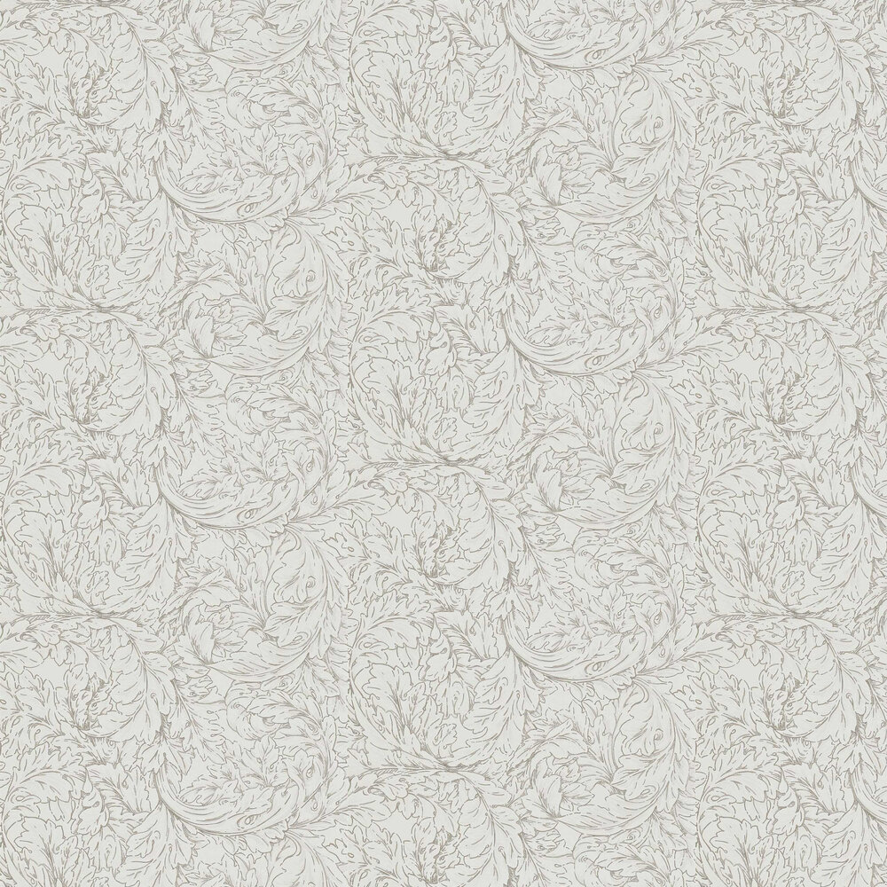 Acanthus Scroll Wallpaper - Charcoal / Ivory - by Morris