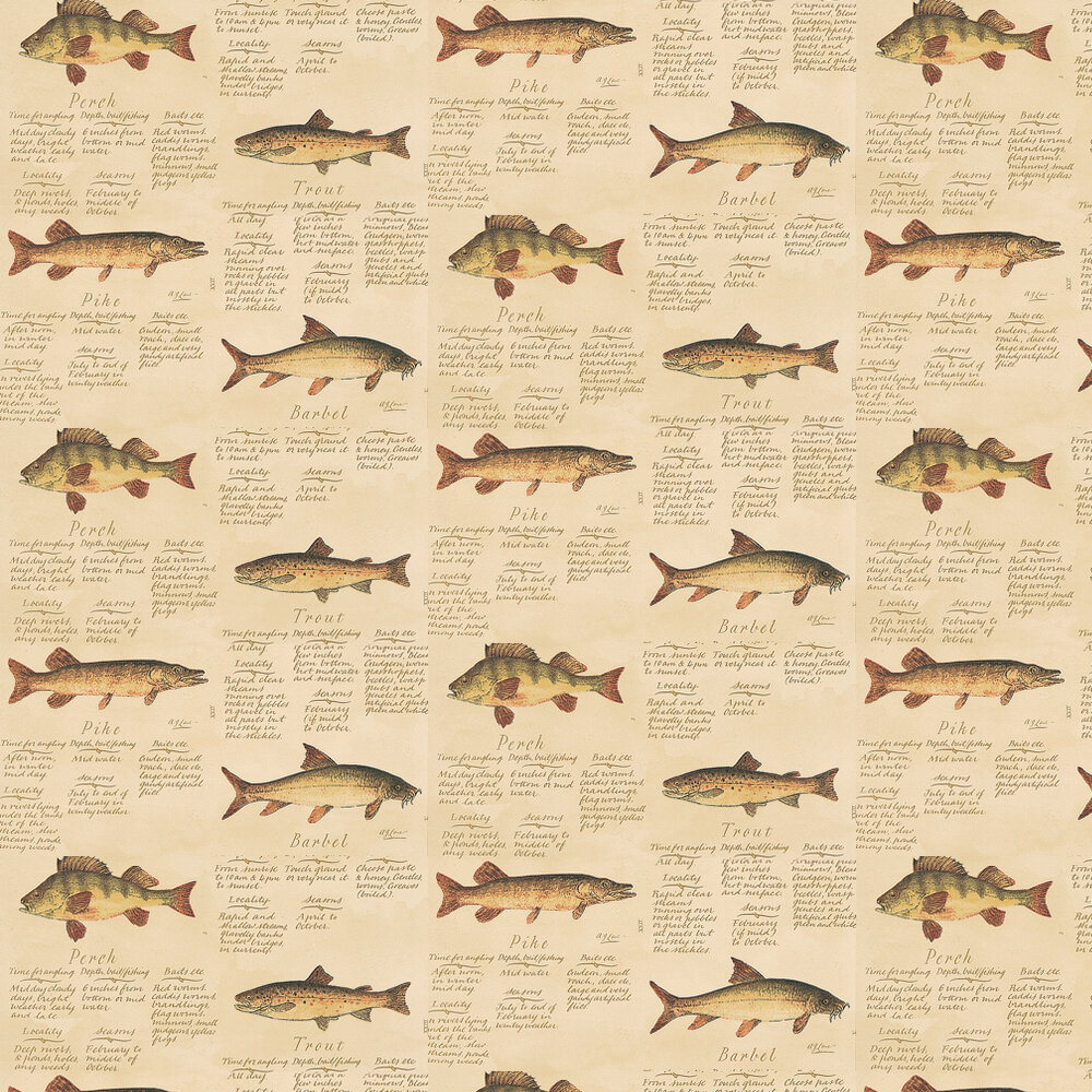 Lewis & Wood European Freshwater Fishes 1846 Brown Wallpaper - Product code: W42-62