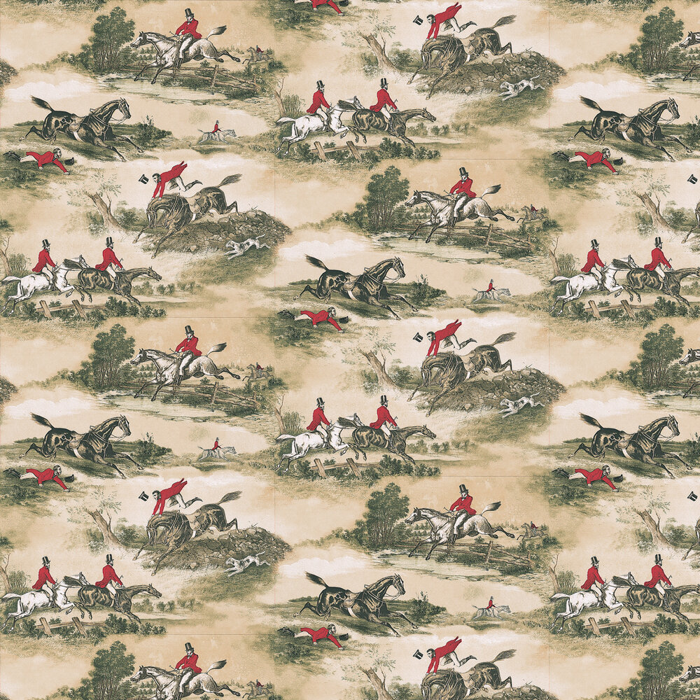 Hunting Scenes 1860 Wallpaper - Red / Green - by Lewis & Wood