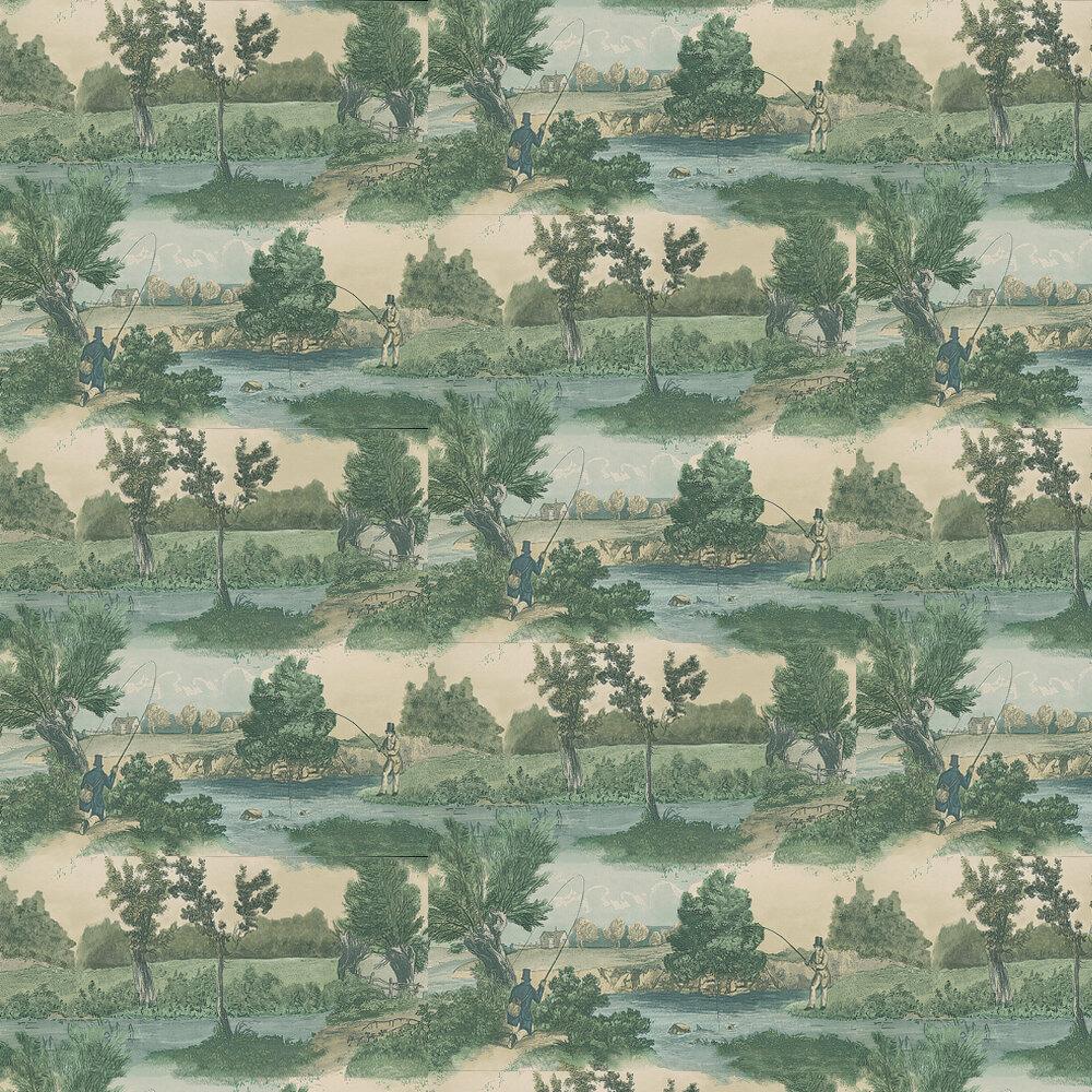 Lewis & Wood Fly Fishing Aqua Wallpaper - Product code: LW97