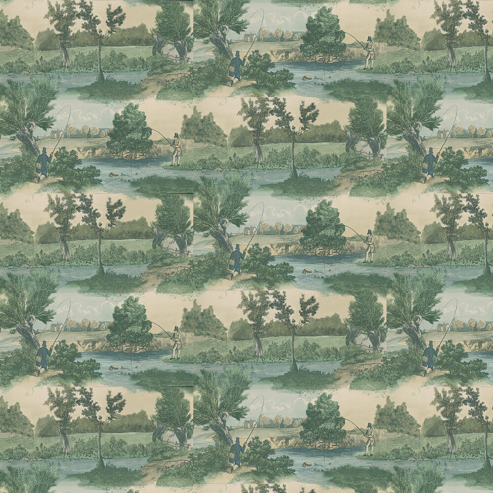 Fly Fishing Wallpaper - Aqua - by Lewis & Wood