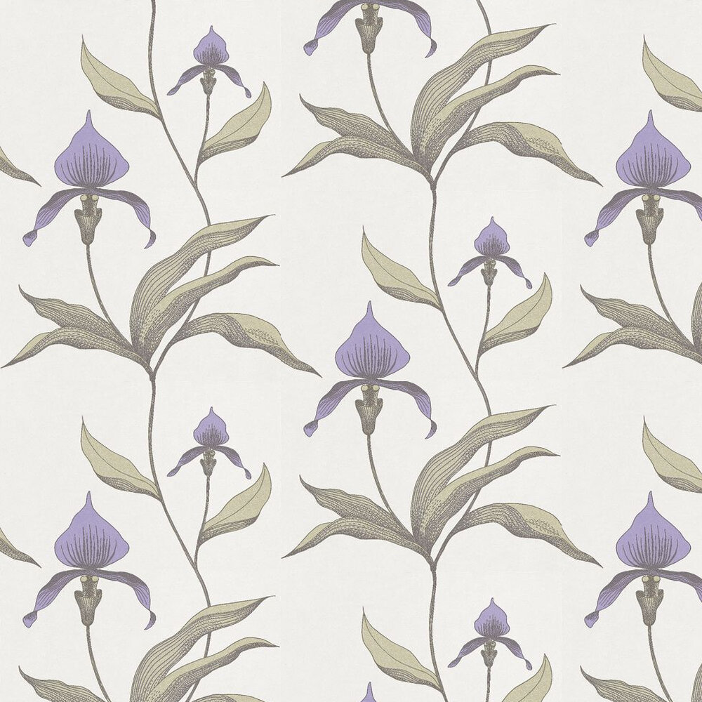 Cole & Son Orchid Violet / Green / Off White Wallpaper - Product code: 66/4024