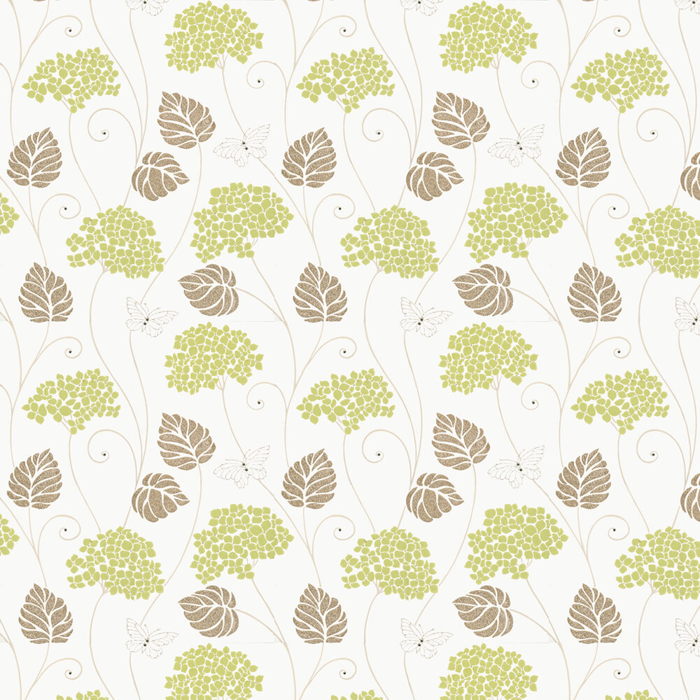 Hydrangea Wallpaper - Lime / Cream - by Kandola