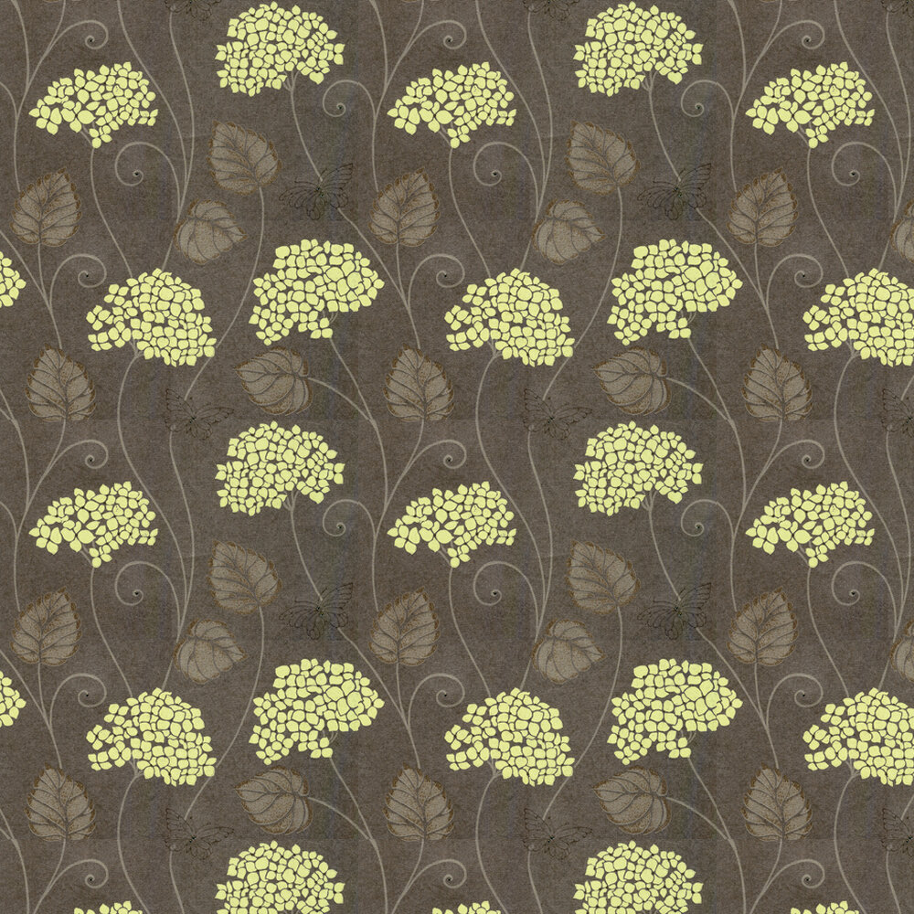 Hydrangea Wallpaper - Lime / Chocolate - by Kandola