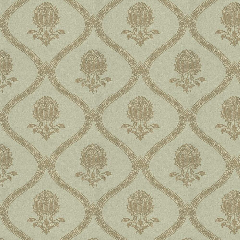 Granada Wallpaper - Eggshell / Gold - by Morris