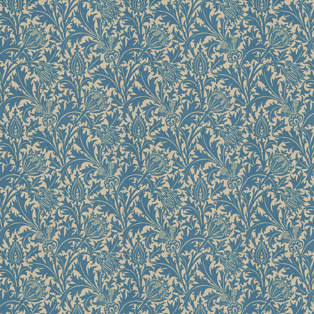 Thistle Wallpaper - Indigo / Linen - by Morris