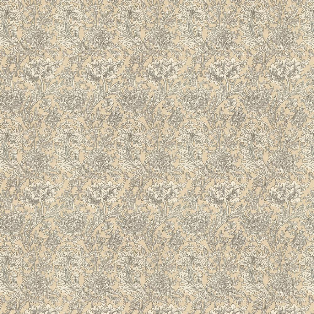 Chrysanthemum Toile Wallpaper - Ivory / Gold - by Morris