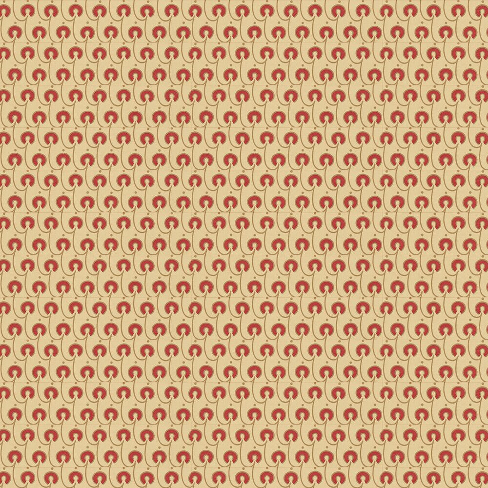 Red House Wallpaper - Red / Gold / Cream - by Morris
