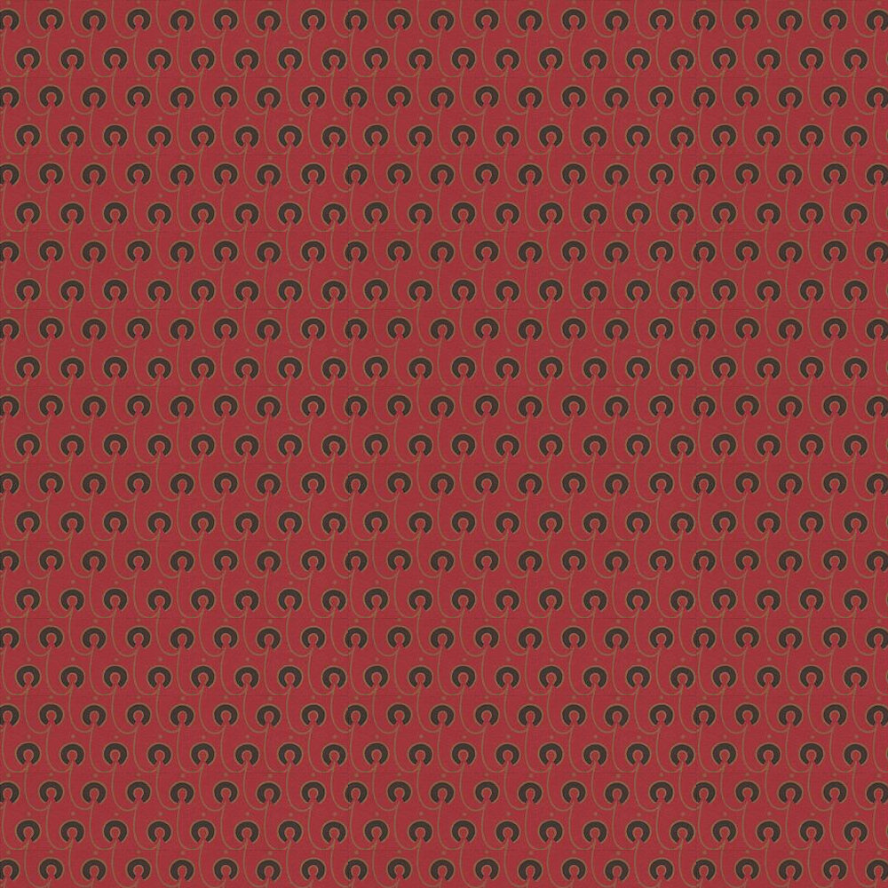 Red House Wallpaper - Black / Gold / Red - by Morris