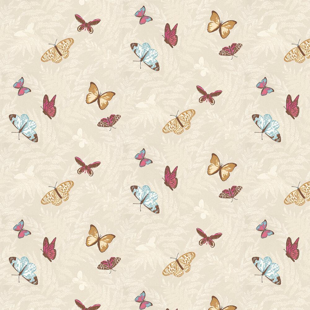 Nina Campbell Farfalla Pink / Blue / Gold / Cream Wallpaper - Product code: NCW4010/01
