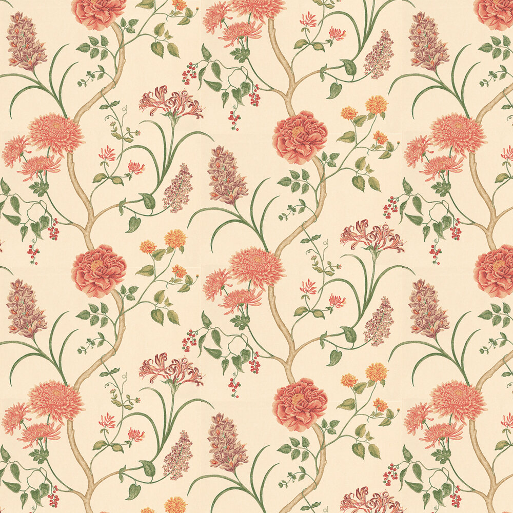 Summer Tree By Sanderson Red Orange Wallpaper Wallpaper Direct