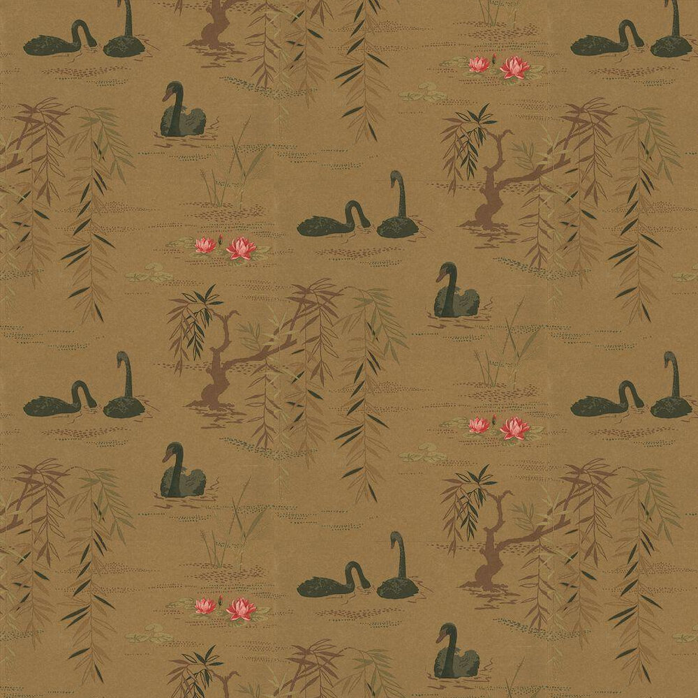 Nina Campbell Swan Lake Gold / Black Wallpaper - Product code: NCW4020-07