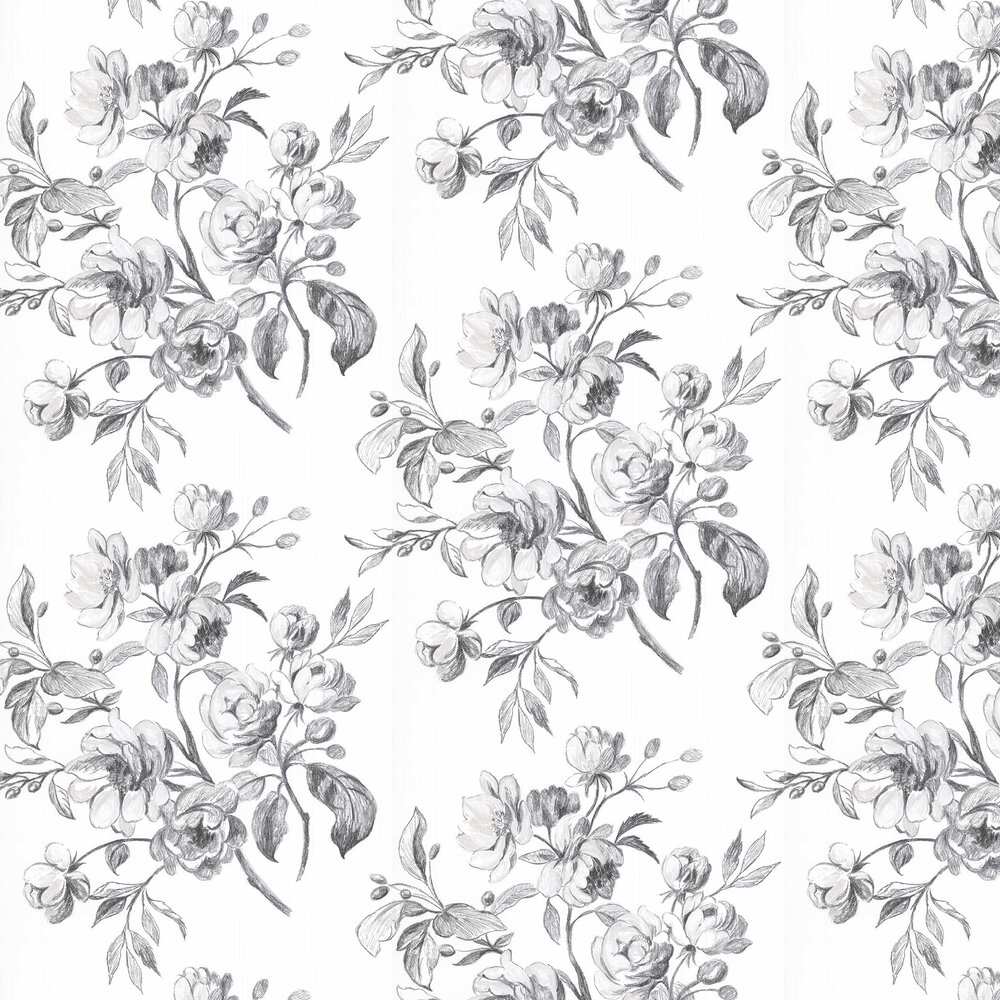 Watelet Wallpaper - Black / White - by Designers Guild