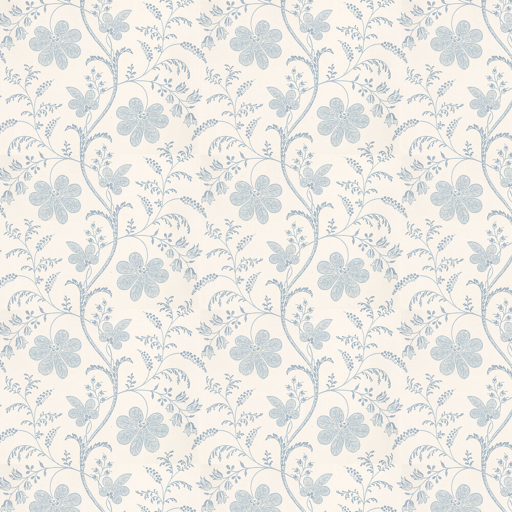 Bedford Square Wallpaper - China Blue / White - by Little Greene