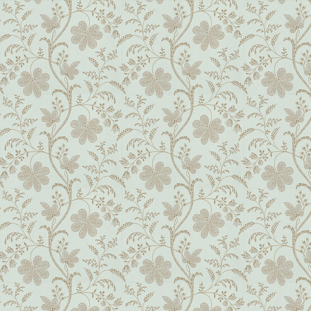Bedford Square By Little Greene Duck Egg Gold Wallpaper