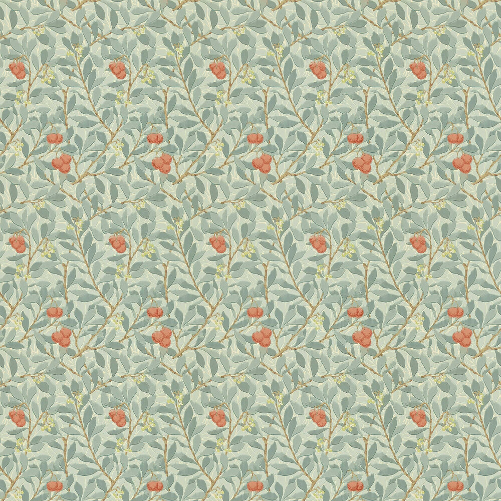 Arbutus Wallpaper - Blue / Cream / Red - by Morris