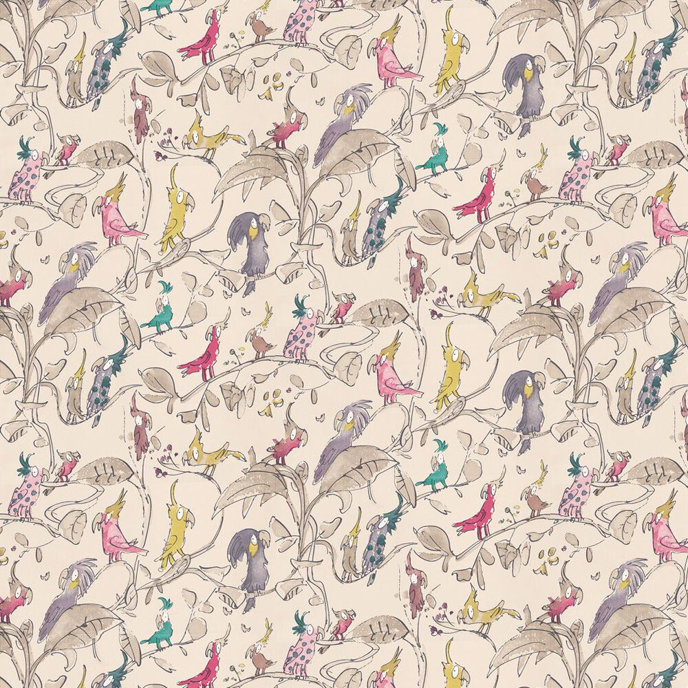 Cockatoos Wallpaper - Pink / Purple / Beige - by Osborne & Little