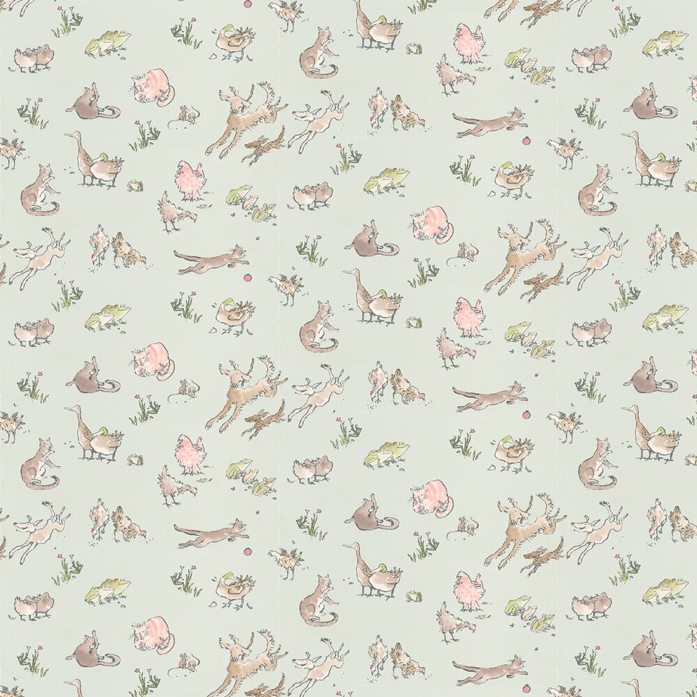 Osborne & Little Quentin's Menagerie Aqua / Multi Wallpaper - Product code: W6063/06