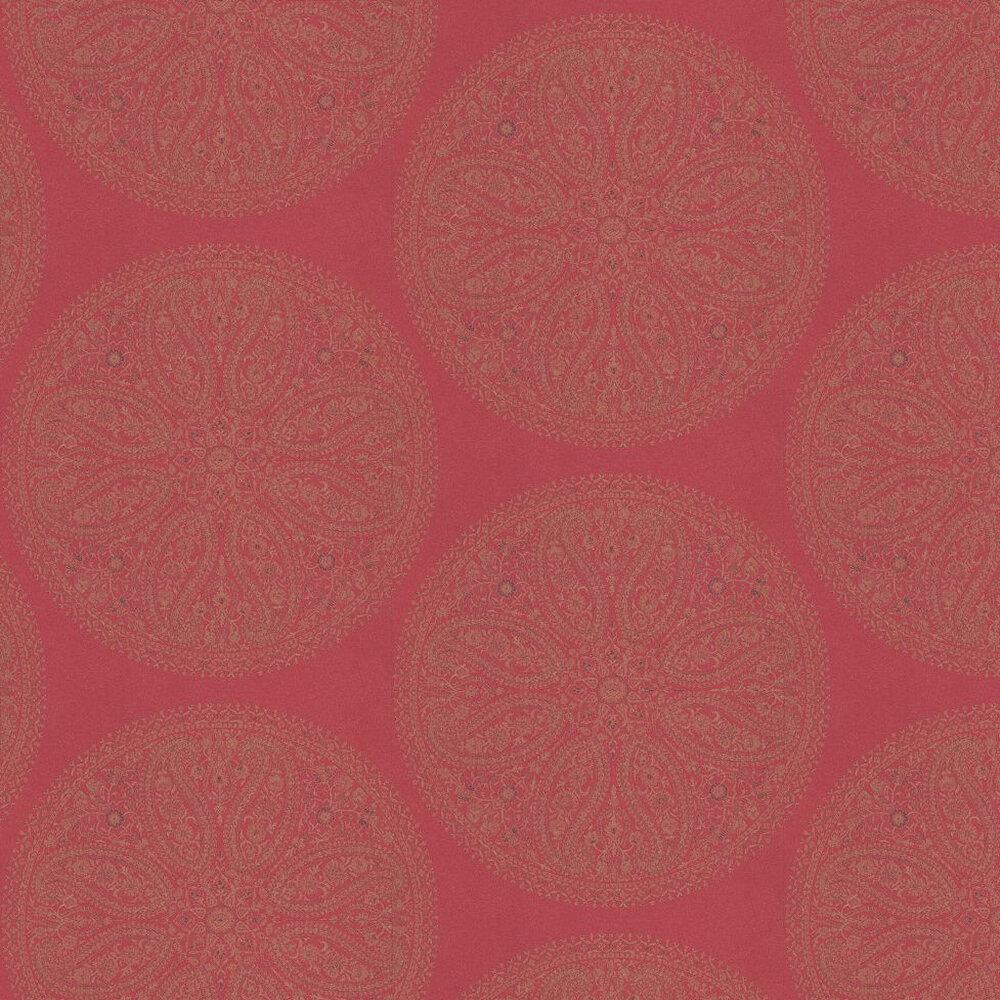 Sanderson Paisley Circles Red / Gold Wallpaper - Product code: DCAVPC105