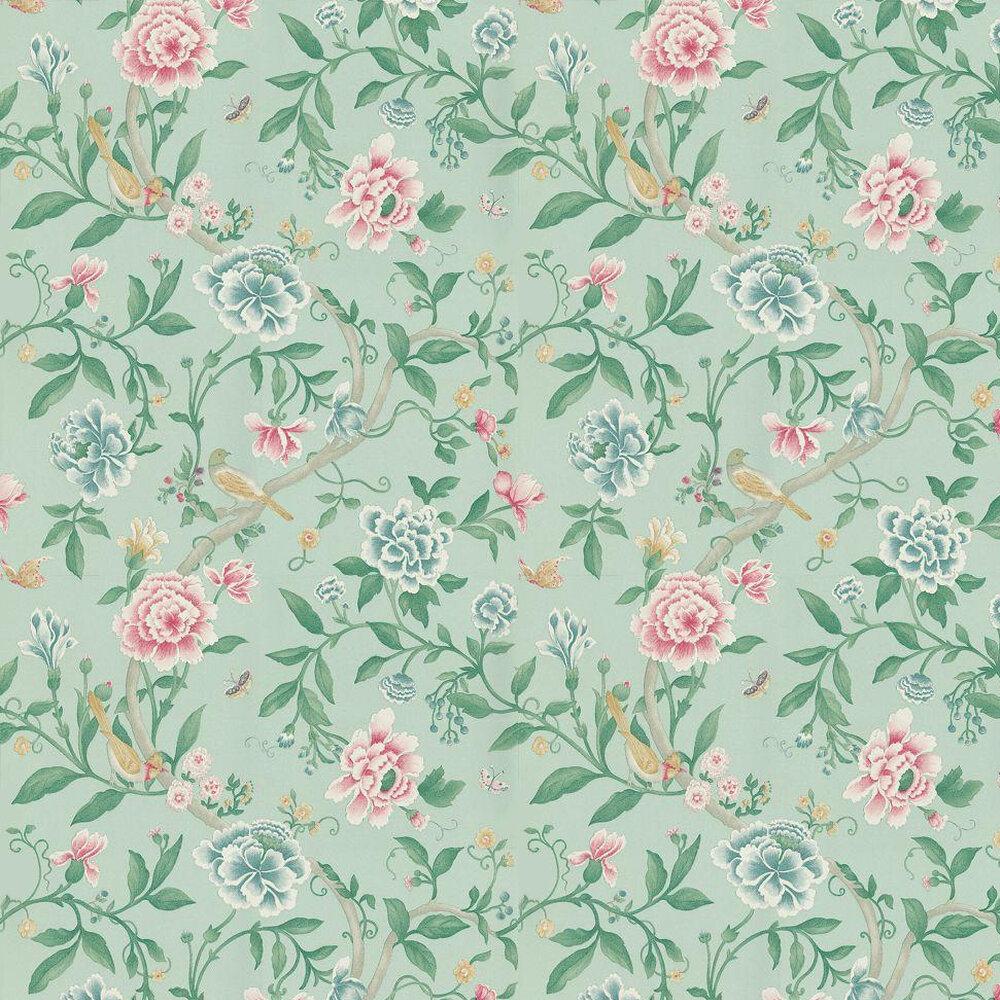 Sanderson Porcelain Garden Rose/Duck Egg Wallpaper - Product code: DCAVPO103