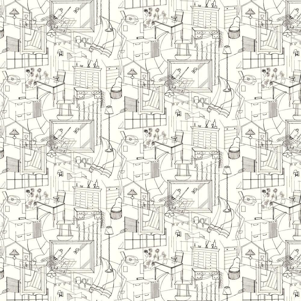 Homes Wallpaper - Black / Cream - by Erica Wakerly