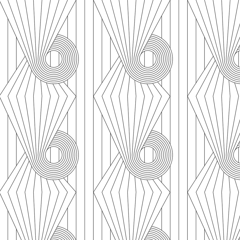 Spiral Wallpaper - Black / White - by Erica Wakerly