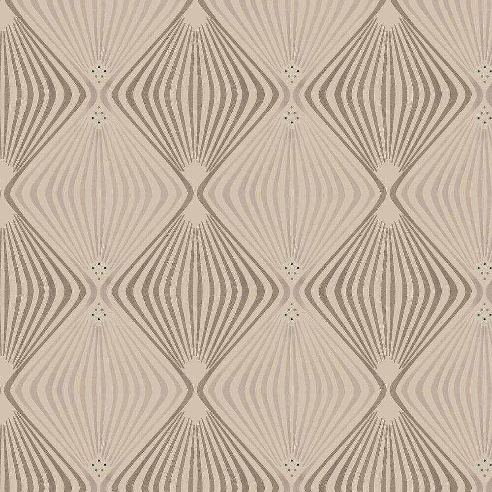 Jewel Flocked Wallpaper crystallised  - Metallic Gilver / Cream - by Kandola