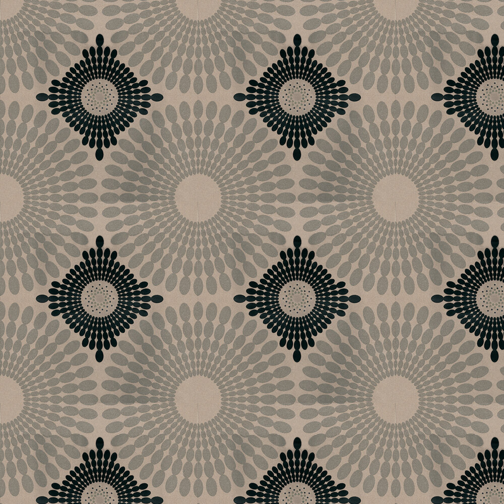 Kandola Starburst Flocked Wallpaper Crystalised  Black / Metallic Gold / Silver - Product code: W1485/01/CRY