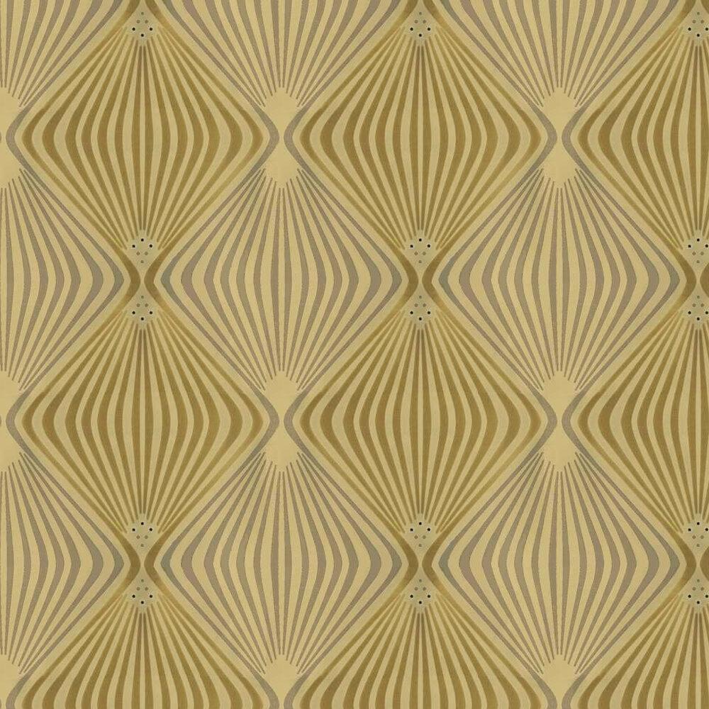 Jewel Flocked Wallpaper crystallised - Green / Silver - by Kandola