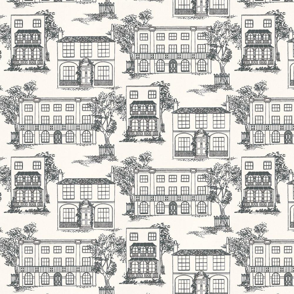 Hampstead Ink Wallpaper - Ink Black - by Little Greene