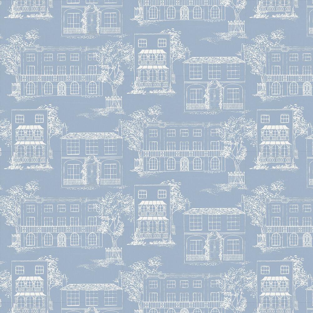 Hampstead James Blue Wallpaper - by Little Greene
