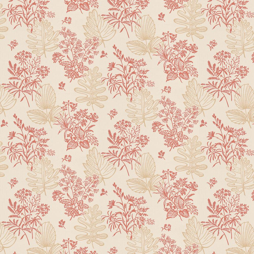 Norcombe Jazz Wallpaper - Red / Beige - by Little Greene