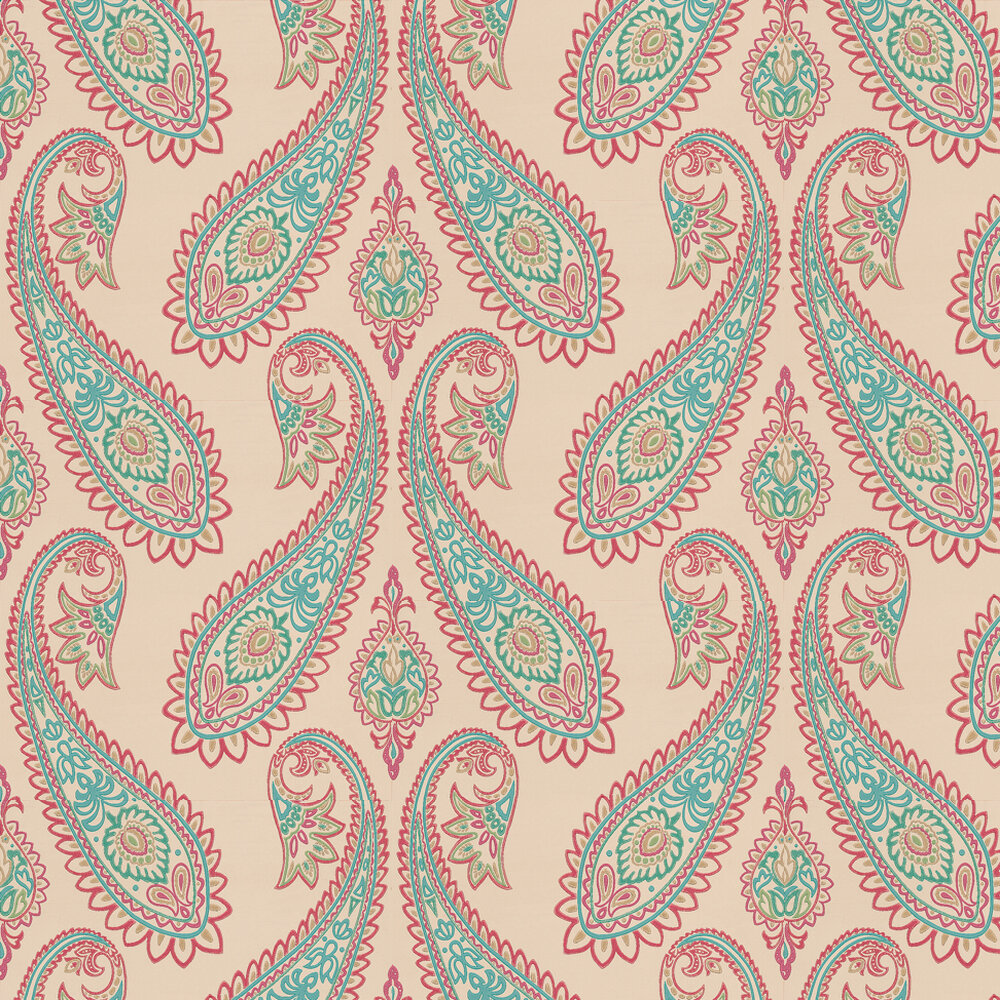 Osborne & Little Nizam Fuchsia / Peacock Wallpaper - Product code: W6179/01