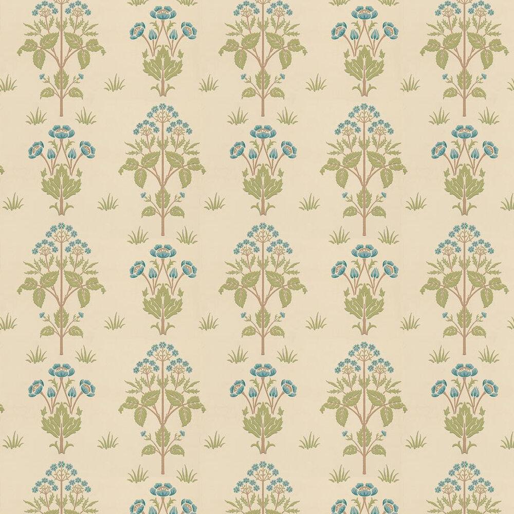 Meadow Sweet Wallpaper - Blue / Green / Neutral - by Morris