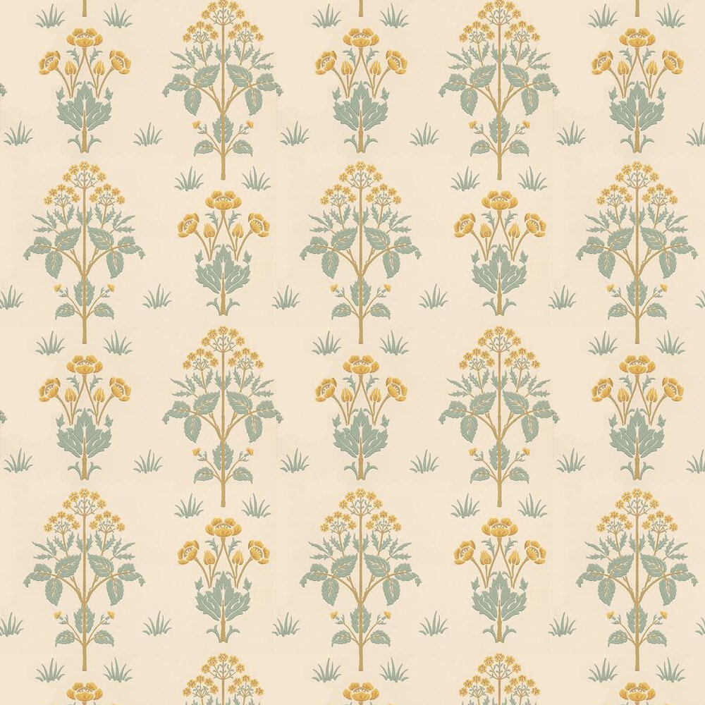 Meadow Sweet Wallpaper - Gold / Yellow / Blue Green - by Morris