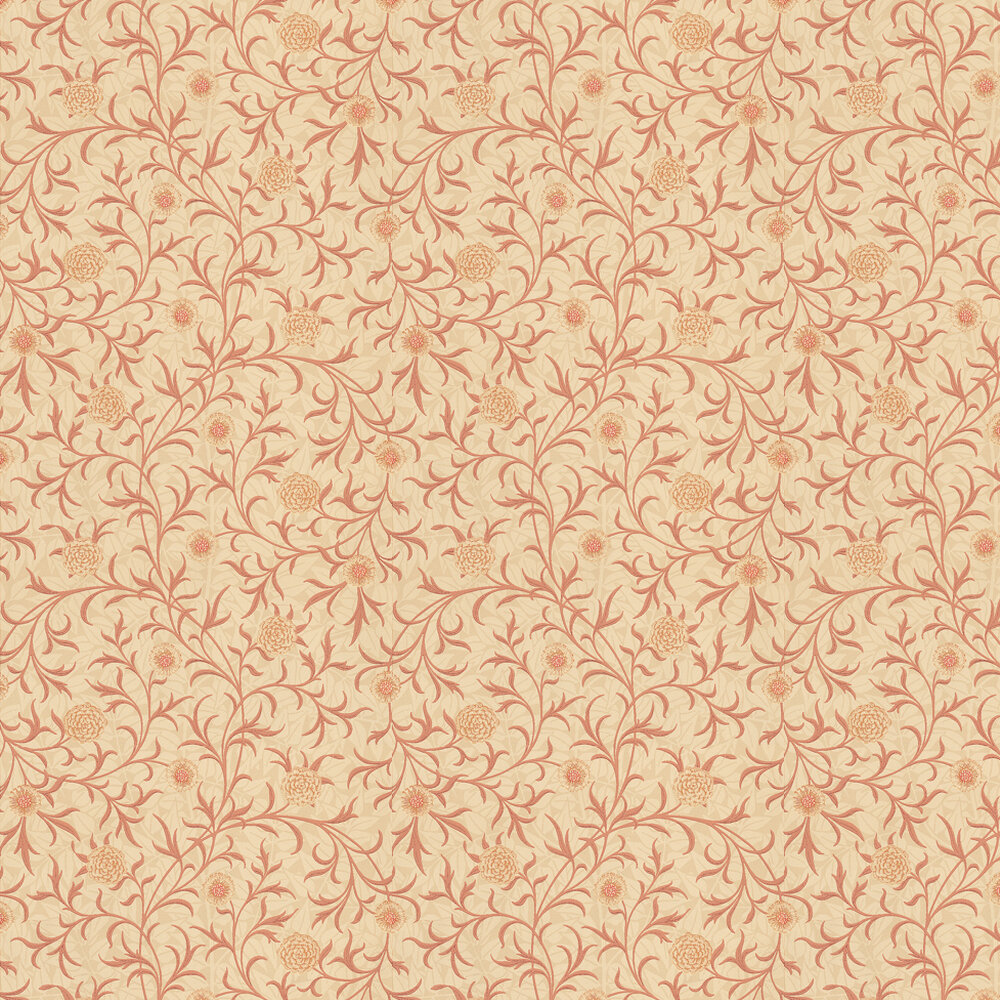 Scroll Wallpaper - Red / Cream - by Morris