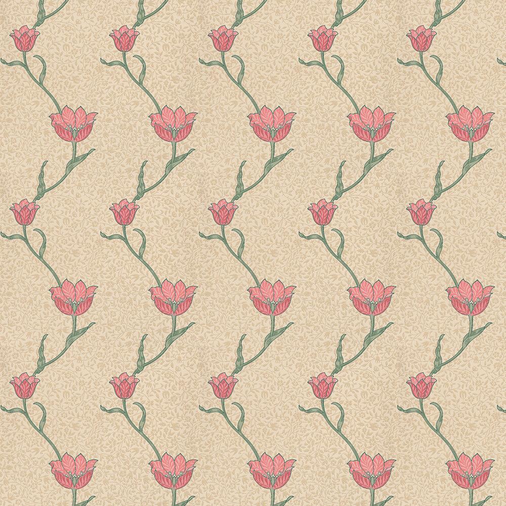 Garden Tulip Wallpaper - Neutral / Red - by Morris