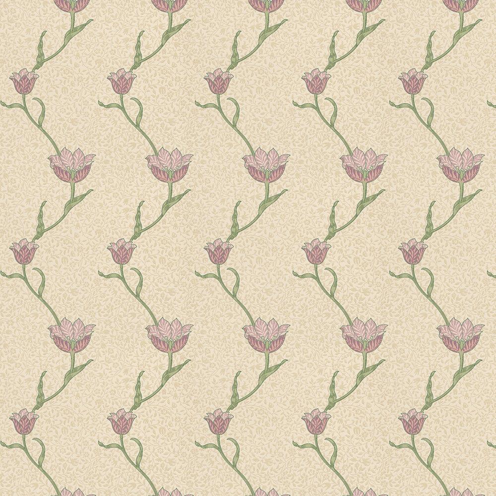 Garden Tulip Wallpaper - Red / Neutral - by Morris